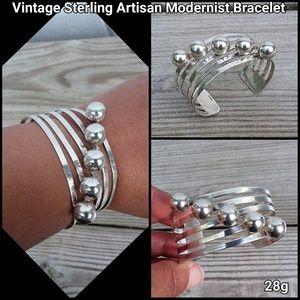 Vintage Sterling Artisan Modernist Bracelet